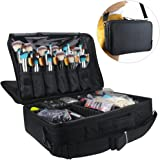 """Travelmall Professional Makeup Train Case Cosmetic Organizer Make Up Artist Box 3 layer Large Size with Adjustable Shoulder for Makeup Brush set Hair style nail beauty tool 16.54""""11.42""""5.51"""" Black"""