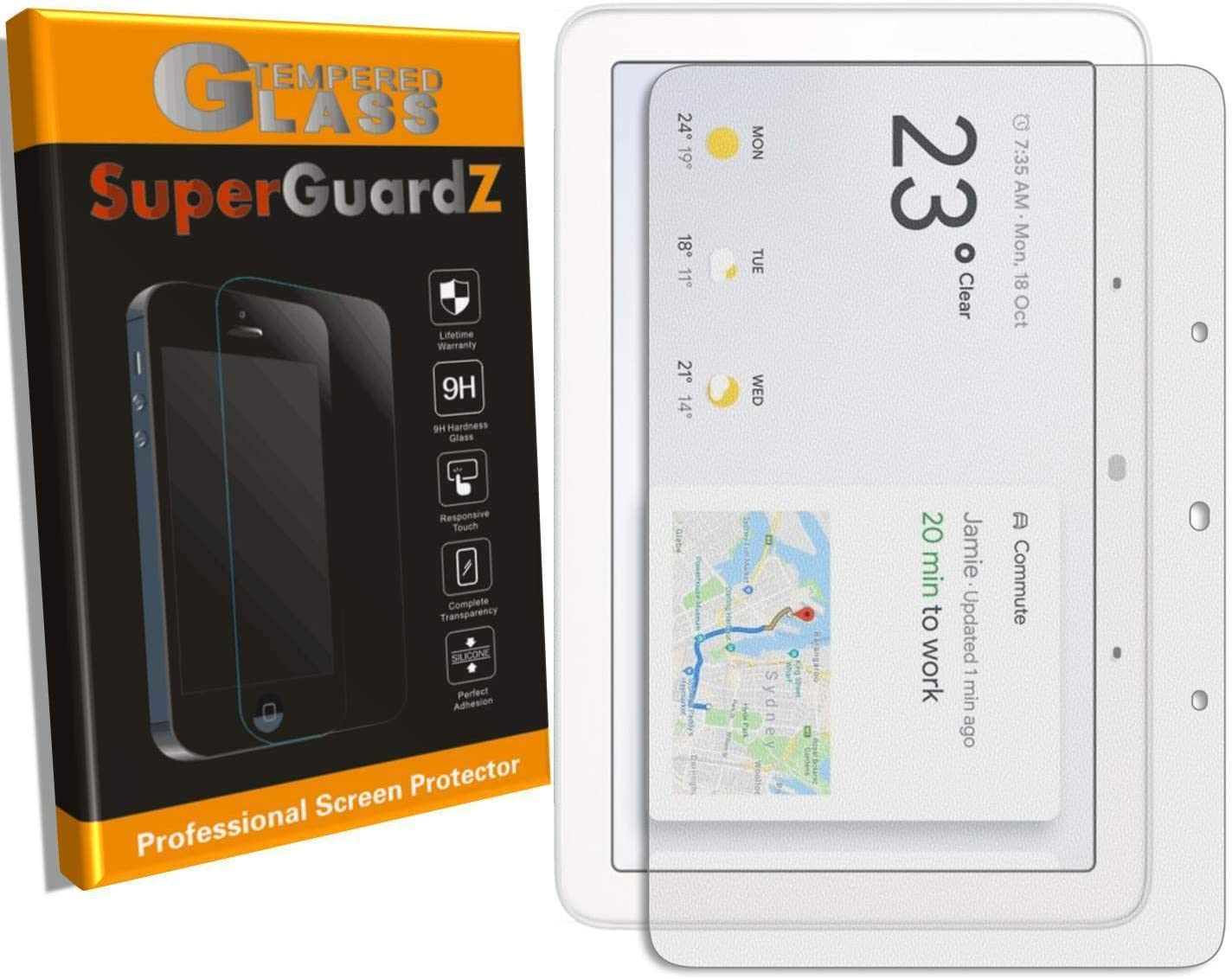 [2-Pack] SuperGuardZ for Google Home Hub Screen Protector [Tempered Glass], 9H, 0.3mm, 2.5D Round Edge, Anti-Scratch, Anti-Bubble [Lifetime Replacement]