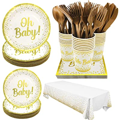 Pandecor Oh Baby Party Supplies for Baby Shower - Serves 24 Guests - 170 Pieces Disposable Tableware,White and Gold Party Decorations for Baby boys and Girls: Toys & Games