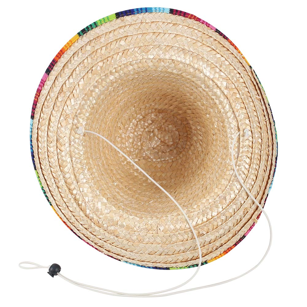 DomeStar Mexican Sombrero Hat, Straw Hat Mexican Costume for Cinco de Mayo Spanish Fiesta