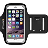 PORTHOLIC Sweat Resistant Sports Running Armband For iPhone 8/7/6/6s Galaxy S6/S5/S4 or Any Screen Up to 5.1 inch -Extension Strap- With Key Holder,Cable Locker,Cards Holder (Black)