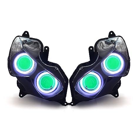 KT LED Angel Eye Headlight Assembly for Kawasaki Ninja ZX-14R ZZR1400 2012-2019 Green Demon Eye