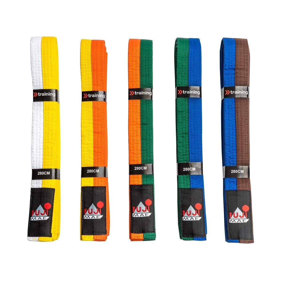 Fuji Mae - Cinturón adulto. 280cm. Bicolor, color Amarillo-Naranja
