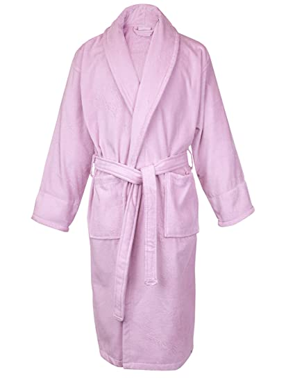 5799461451 Image Unavailable. Image not available for. Color  BC BARE COTTON 100% Turkish  Cotton Women Terry Velour Shawl Robe Small Medium Pink