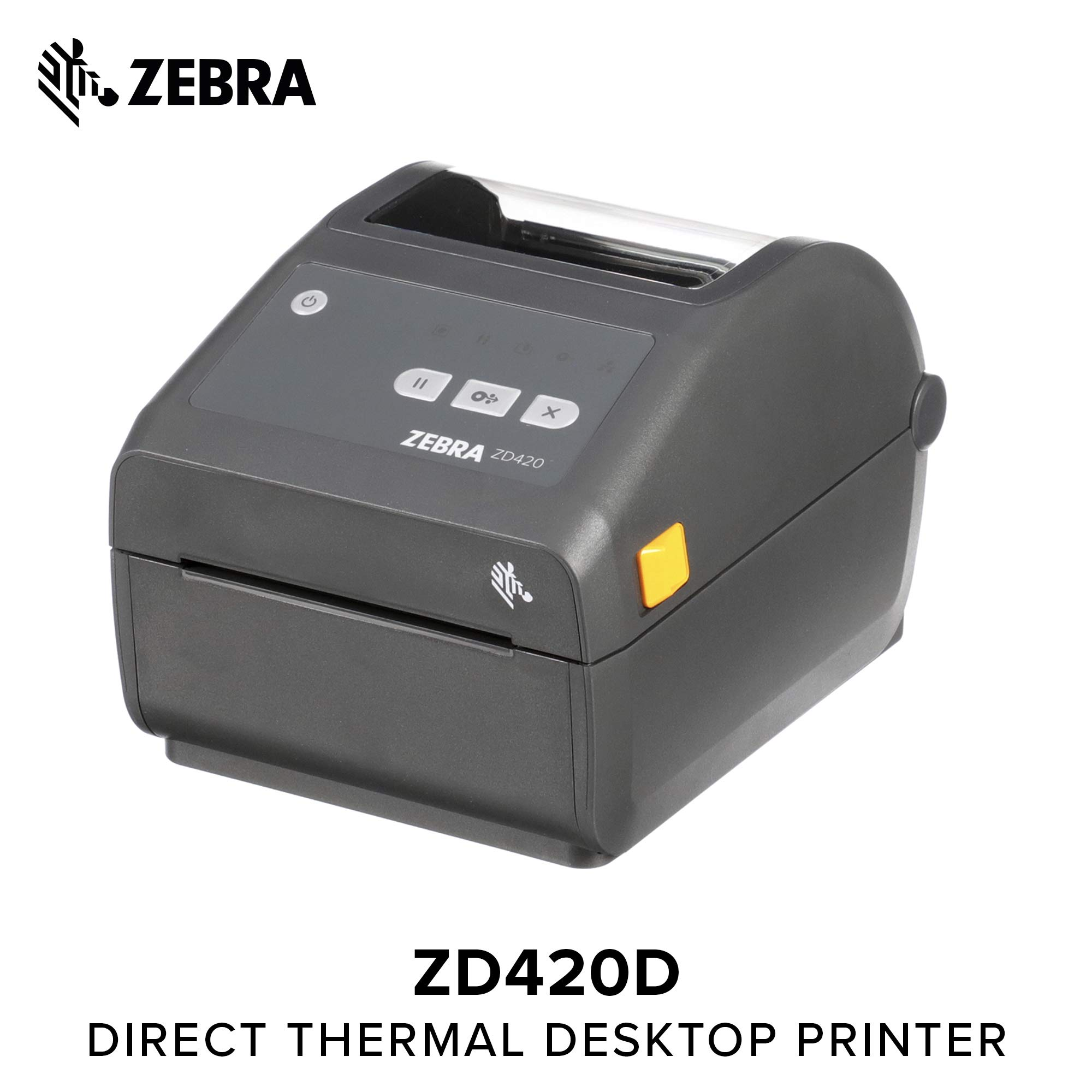 Zebra - ZD420d Direct Thermal Desktop Printer for Labels and Barcodes - Print Width 4 in - 203 dpi - Interface: USB - ZD42042-D01000EZ