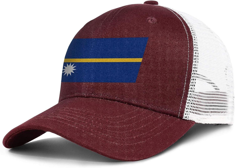 Nauru Flags of Countries Seal Mens Baseball Curved Casual Printed Snapback Cap