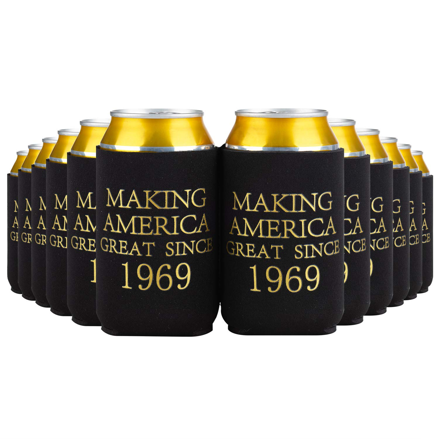 Crisky 50th Birthday Beer Sleeve, 50th Birthday Can Cooler Insulated Covers, 50th Birthday Decorations Black Gold Making America Great Since 1969, Neoprene Coolers for Soda, Beer, Can Beverage, 24 Pcs by Crisky