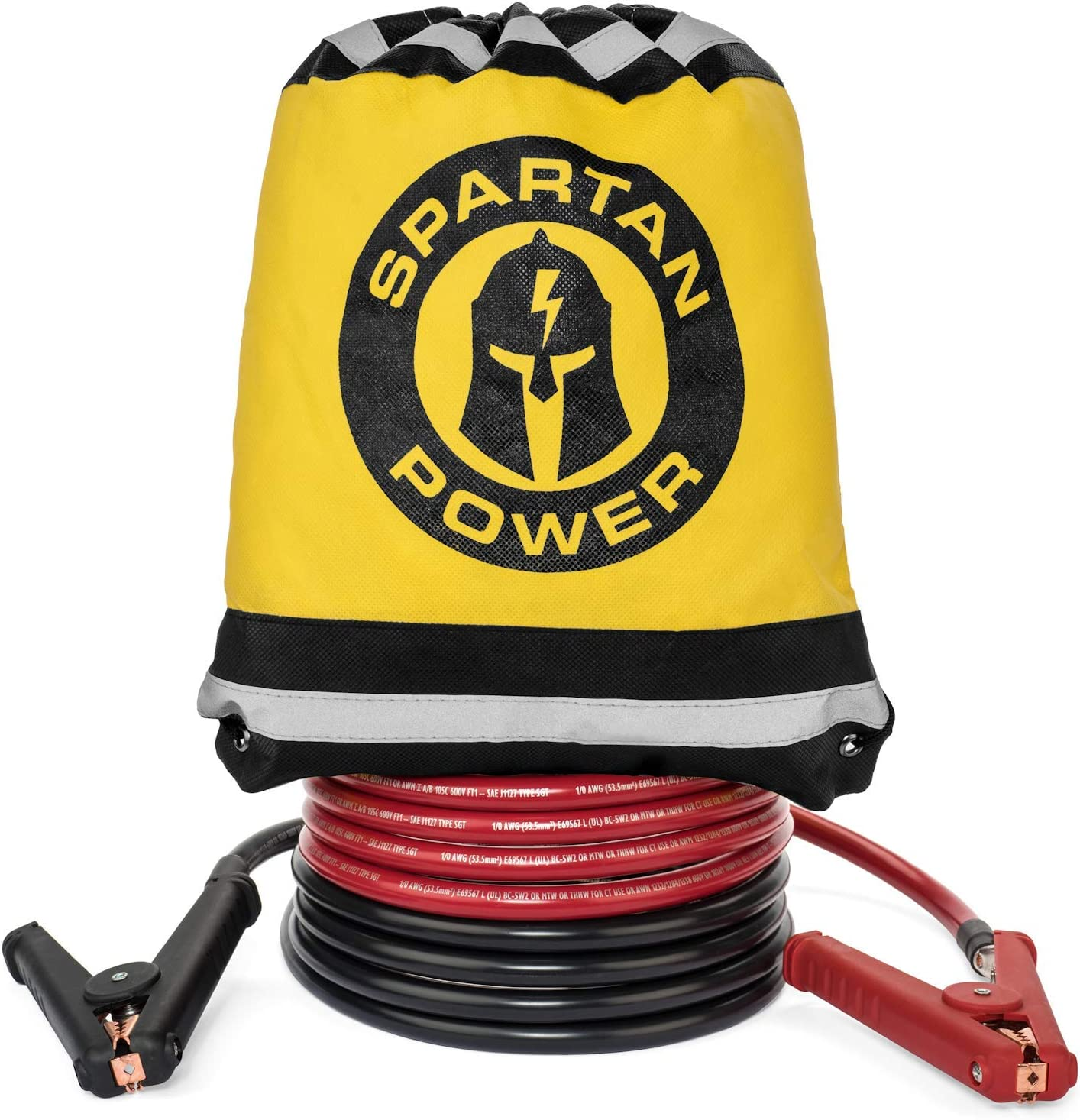 20 Foot 4 AWG Gauge Heavy Duty Jumper Cables Booster Set by Spartan Power 4 AWG 15 Foot Made in the USA