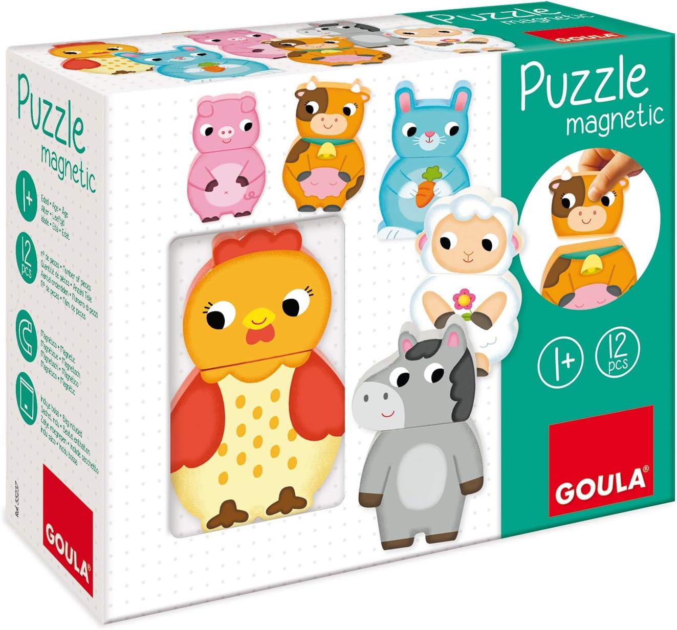 Goula - Puzzle magnético animales granja - Puzzle de madera a partir de 1 año: Amazon.es: Juguetes y juegos