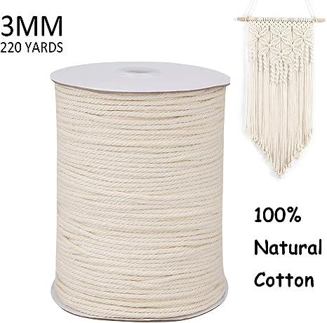 Wall Art MB CORDAS Dark Gray Macrame Rope 4mm Soft Cotton Cord 150m Thick Macrame String for Plant Hangers Dark Gray