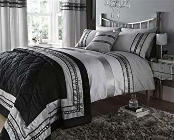 Kitchen Curtains black and silver kitchen curtains : BLACK & SILVER GREY EMBELLISHED DOUBLE DUVET SET WITH MATCHING ...