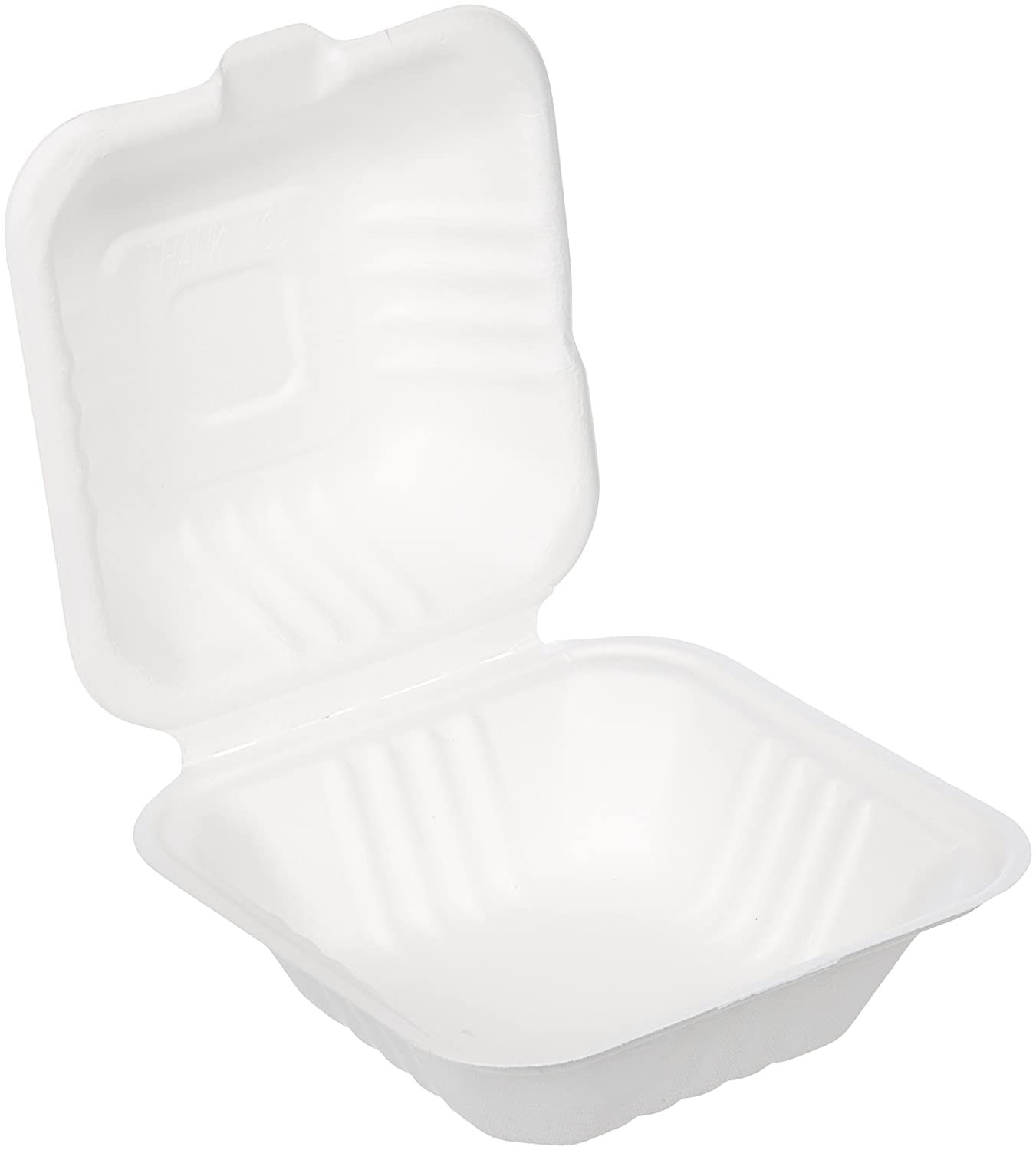 """AmazonBasics Compostable Clamshell Take-Out Food Container, 6"""" x 6"""" x 3"""", Pack of 250"""