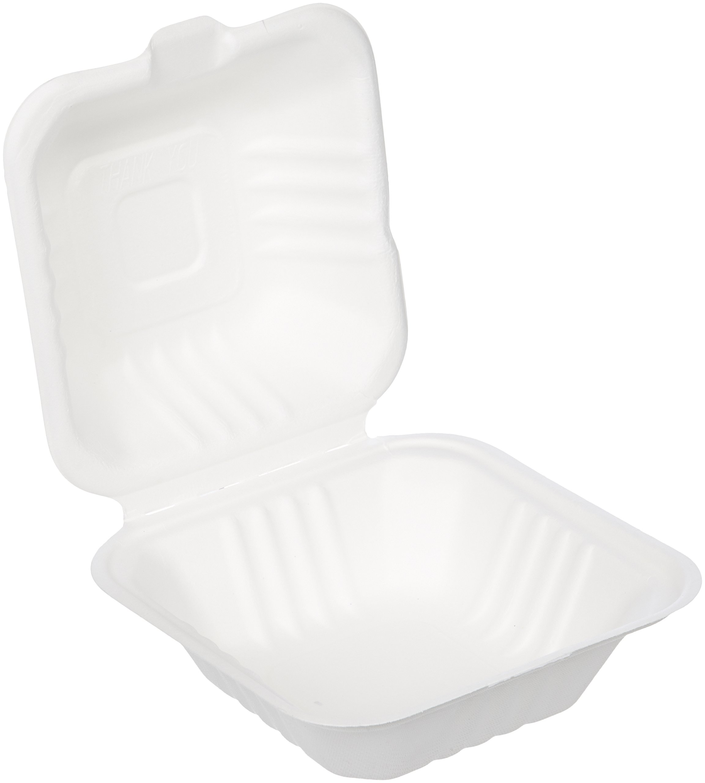AmazonBasics 6'' x 6'' x 3.1'' Compostable Clamshell Take-Out Food Container, 500-Count