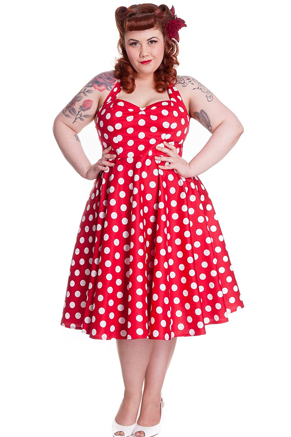Vintage Polka Dot Dresses – 50s Spotty and Ditsy Prints Hell Bunny Plus Size Rockabilly Red and White Polka Dot Minnie Halter Dress $89.95 AT vintagedancer.com