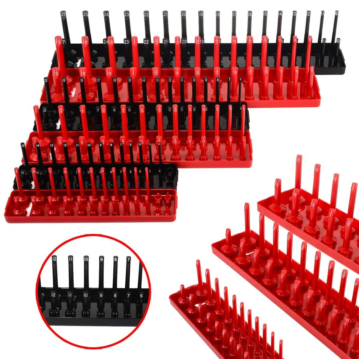 JIAIIO 6pcs Black/Red 1/4'' 3/8'' 1/2'' Metric SAE Socket Tray Rack Holder Garage Tool Organizer