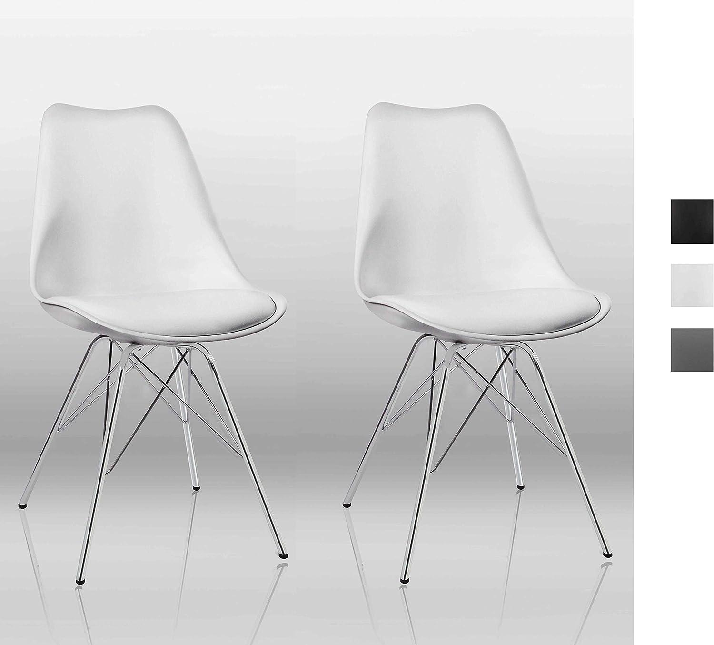 Duhome Juego de 2 Silla de Comedor de plástico diseño Retro con cojín Silla Vintage Estilo escandinavo con Patas de Metal 518J, Color:Blanco, Material:Cuero Artificial