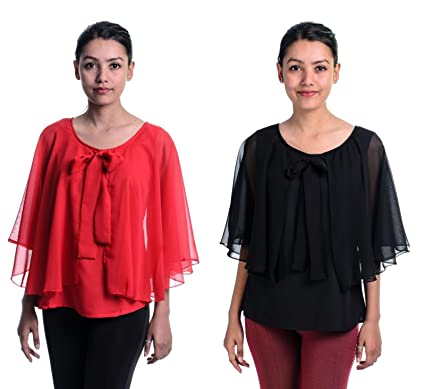 757fc8d29 Timbre Women Stylish Party Wear Black N Red Tops Combo Pack Of 2 ...