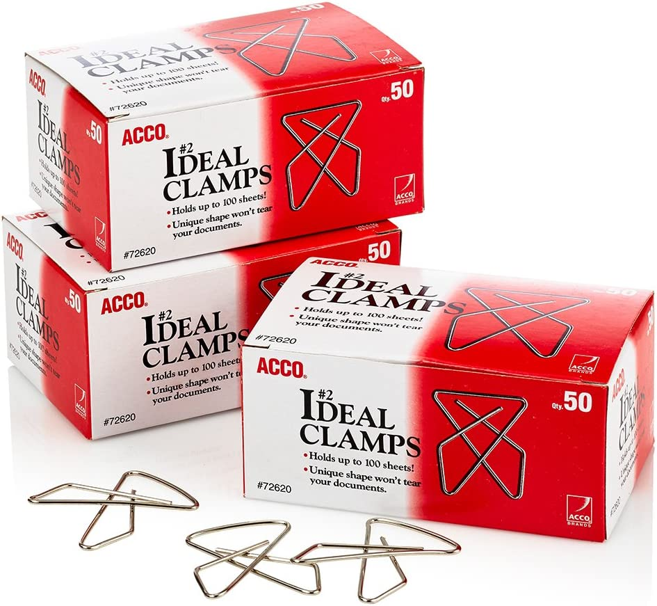 ACCO Brands ACCO Ideal Paper Clamp/Butterfly Clamp, Smooth, 2 Size(Small), 50/Box, 3-Pack (150 Clamps Total) (A7072643)