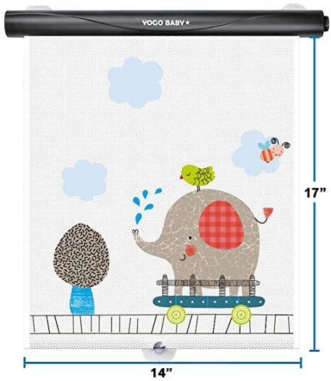 Car Roller Sunshade Deluxe Set of 2 Kids Elephant Retractable Car Window Sunshade Black Roller for Neat Look When not in use Blocks Sun & Keeps Car ...