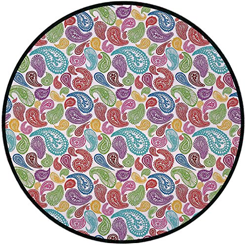 (Printing Round Rug,Paisley Decor,Modern Teardrop Shaped Striped Oriental Pattern with Flowers and Leaves Mat Non-Slip Soft Entrance Mat Door Floor Rug Area Rug For Chair Living Room,Multi Colored)