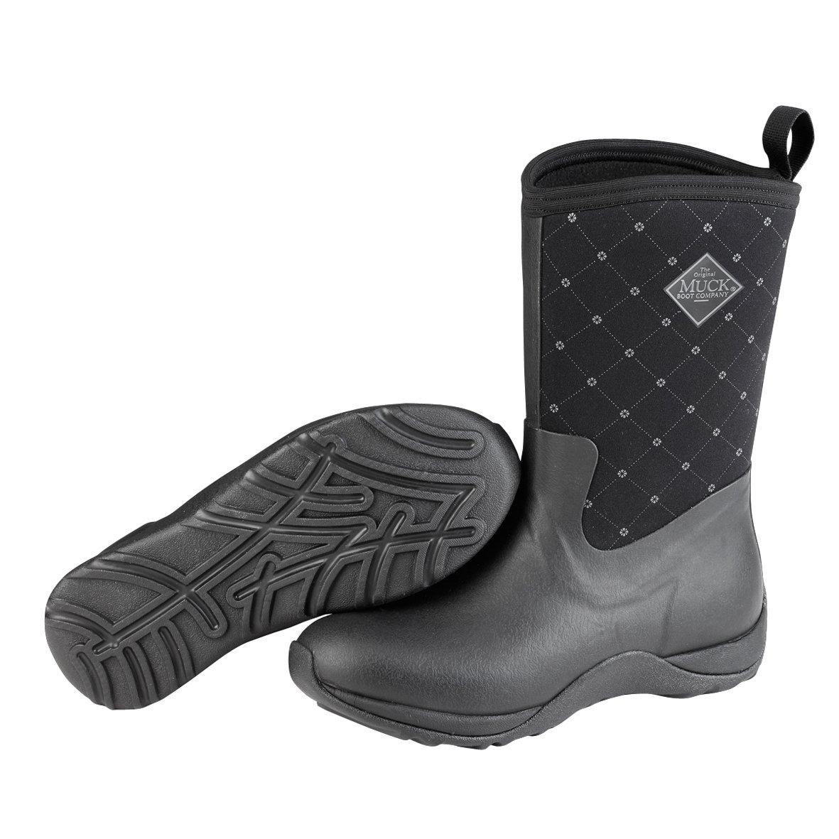 Muck Boot Women's Arctic Weekend Mid Snow Boot, Black Quilt, 9 M US