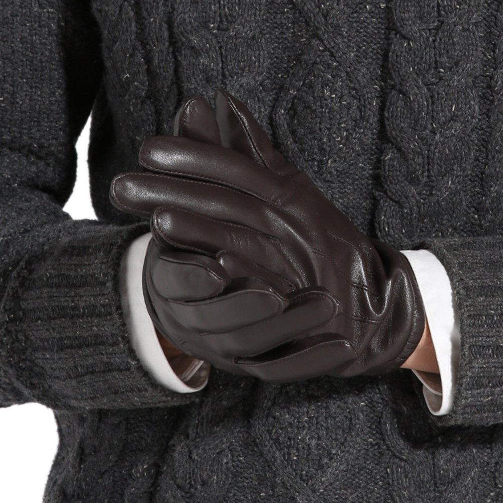 Magelier Men's Genuine Lambskin Nappa Leather Motorcycle Driving Love Couple Gift for Men Lined Gloves,Coffee,US 9 by Magelier (Image #4)