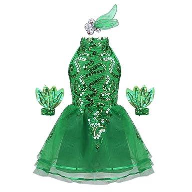 74203024e11 MSemis Enfant Fille Déguisement Princesse Elfe Lutin Noël Costume de Dance  Robe de Paillette Brillant Patinage