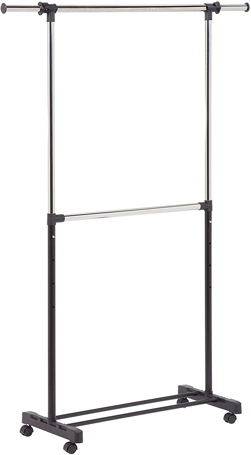 Honey-Can-Do GAR-01767 Dual Rod Expandable Garment Rack with Wheels, ,Black,60in L x 17in W x 73in H: Home & Kitchen