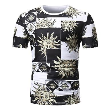 d528dc388c71a Nikuya Men Summer Casual African Print Short Short-Sleeve Crewneck Sleeve  T-Shirt Top