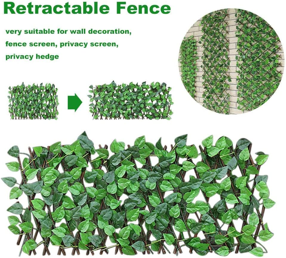 Retractable Leaves Fence Outdoor, Expanding Trellis Fence Retractable Fence Artificial Garden Plant Fence Uv Protected-privacy Fence For Outdoor Indoor Use Fence Backyard Home Decor Greenery Walls