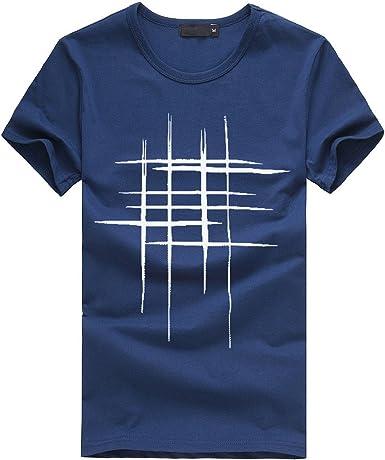 Skang Camisetas Hombre Manga Corta Originales Basicas Redondo Cuello Regular Fit Rayas Impresión Blusa Tops Casual Deportivos de Verano: Amazon.es: Ropa y accesorios