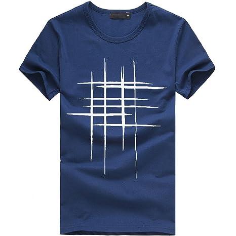 Hombres Que Imprimen Las Camisetas Camisa de Manga Corta Camiseta de algodón Casuales Blusa por Internet: Amazon.es: Ropa y accesorios