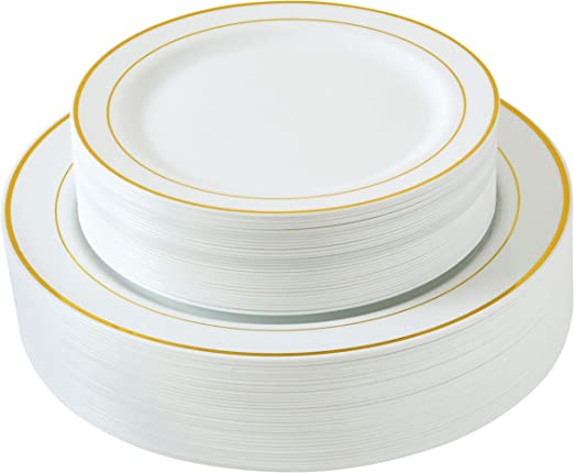 60 Pcs Golden//Silver Plastic Plates include 30 Dinner Plates 30 Salad Plates