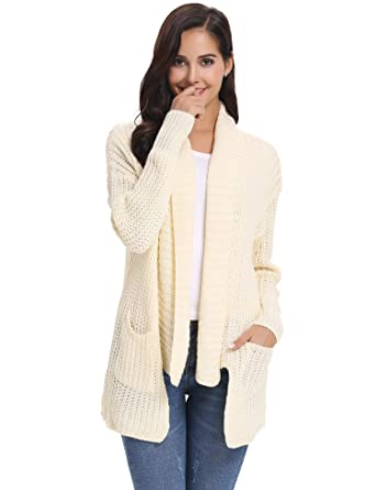 Abollria Waterfall Cardigan For Women Winter Lightweight Chunky Knitted Sweater Jumper Cardigan