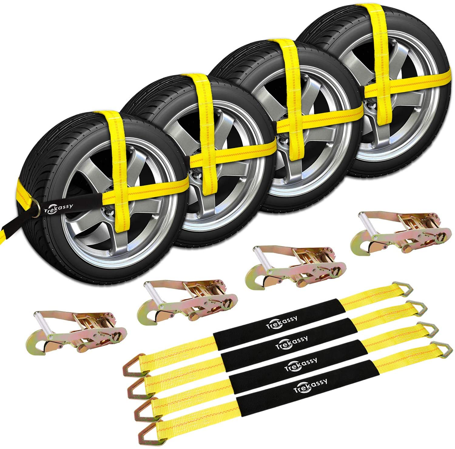 4 Lasso O Ring 10FT Car Transport Tralier 4 Ratchets 4 HooksTow Dolly YELLOW