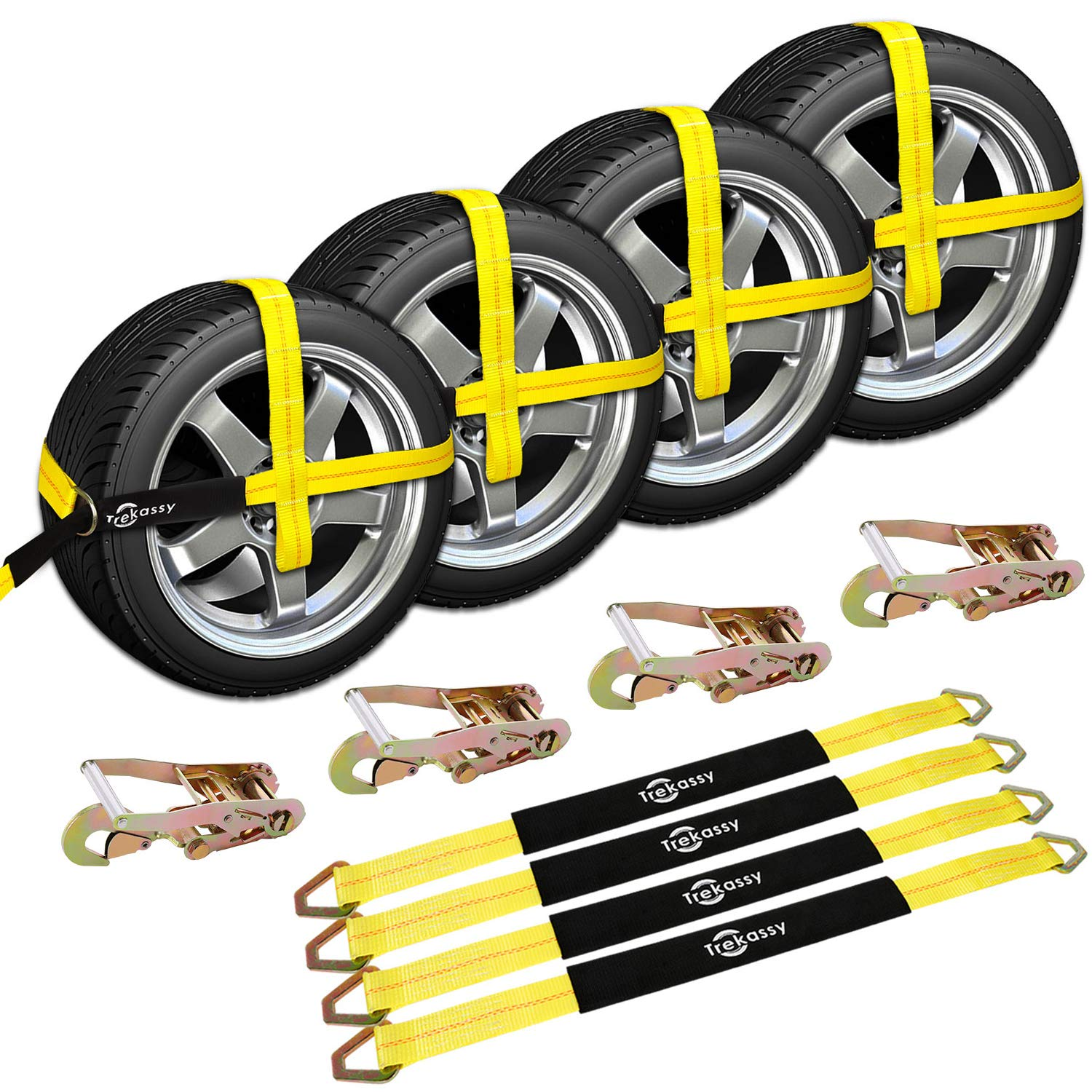 Trekassy Wheel Net Car Hauler Tie Down Straps for Trailers Heavy Duty 4 Pack with 4 Axle Straps and 4 Ratchet with Snap Hooks by Trekassy