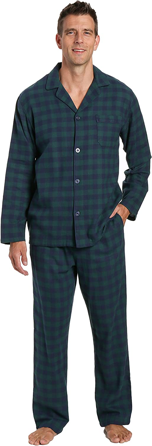 Noble Mount Twin Boat Mens Pajamas Set - 100% Cotton Flannel Pajamas for Men