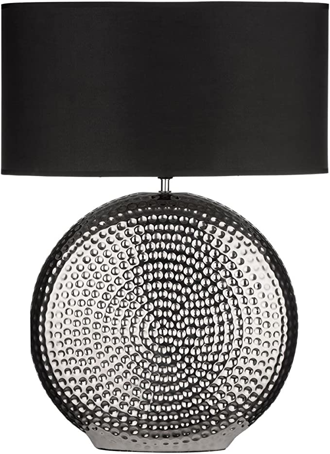 Table Lamp Ceramic Hammered Chrome Base