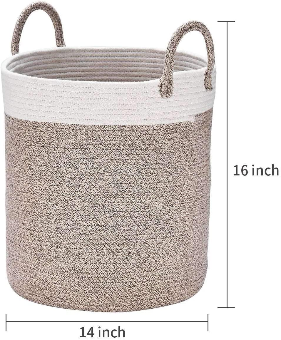 Decorative Basket for Laundry and Living Room White with Black Wide 14 /× 16 Woven Tall Toy Storage with Star YLWHZOVE Large Cotton Rope Basket for Kids