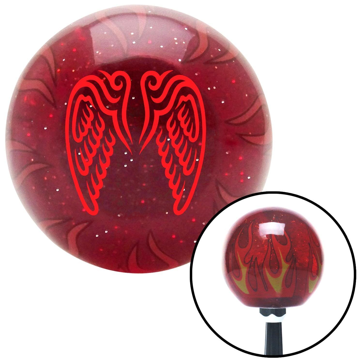 American Shifter 237238 Red Flame Metal Flake Shift Knob with M16 x 1.5 Insert Red Wings Conjoined in Lure