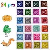 24 Colors Creative DIY Ink Pad - SOWOKO Rainbow Craft Finger Ink Pad Stamps Partner Diy Color Card Making and Scrapbooking for Kids
