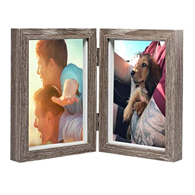 AlexBasic Wooden Picture Frame, Double 4 by 6 inch Hinged Picture Frame, Opening Desktop Photo Frame with Glass Front, Stands Vertically on Desktop, Gift for Father's Day, Brown
