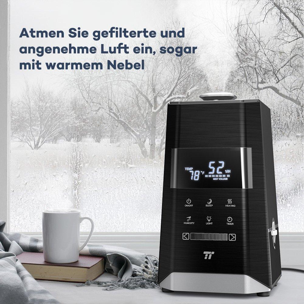 Humidificador ultrasónico de TaoTronics - Humidificador de 6 l, hasta 60 ㎡, calor y frío con boquilla 360 °, sensor de humedad exterior, indicador LED, ...