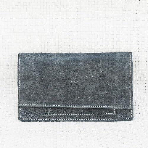 Bolsa de piel azul grisáceo, para tabaco de liar. Estuche pitillera para picadura. Tabaquera de cuero. EStuche de piel para picadura: Amazon.es: Handmade