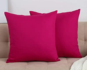 "TangDepot Cotton Solid Throw Pillow Covers, 14"" x 14"" , Brilliant Rose"