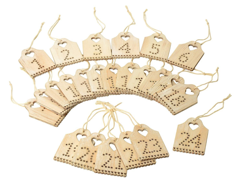 VBS Zahlen Adventskalender 1-24 Schilder aus Holz mit Bändchen ca. 5x3,5cm Schild Türchen Advent Weihnachten Weihnachtskalender Geschenke VBS Hobby Service