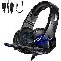 TedGem Auriculares, Auriculares con Microfono, Sonido Envolvente Estéreo Auriculares Gaming, 3.5mm Headset PC, LED…