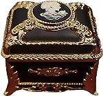 Blue rectangular jeweled cameo music box with sparkling Swarovski crystal elements