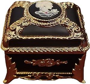 Blue rectangular jeweled cameo music box with sparkling Swarovski crystal elements playing Bolero