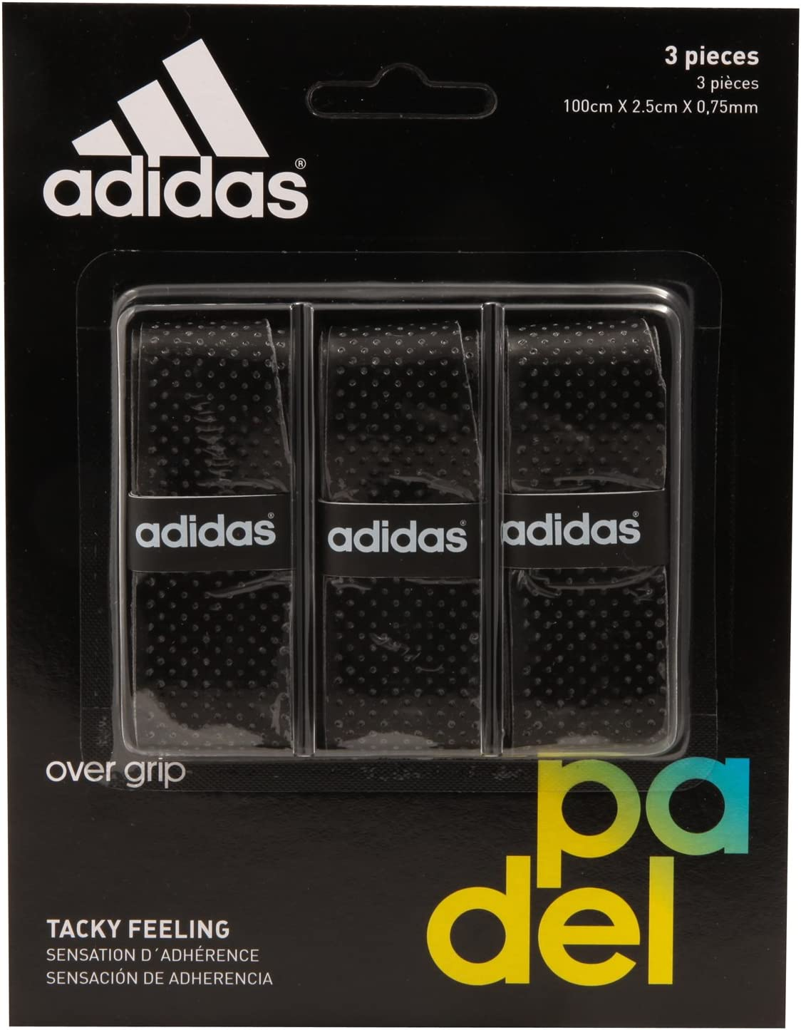 All for Padel Set of overgrip 3 Units Grip, Adultos Unisex, Black, Talla Única